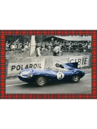 WALLPAPER : La Jaguar Type-D , victorieuse du Mans 1957 - Tartan rouge